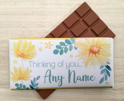 Personalised Thinking of You Yellow Flower Design Milk Chocolate Bar