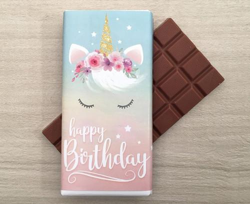 Happy Birthday Milk Chocolate Bar 100g - Unicorn design