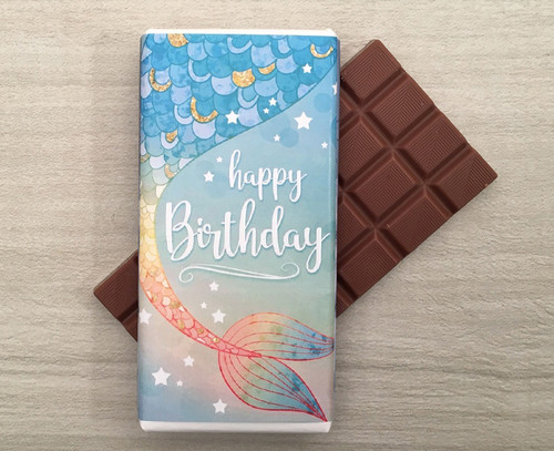 Happy Birthday Milk Chocolate Bar 100g - Mermaid design