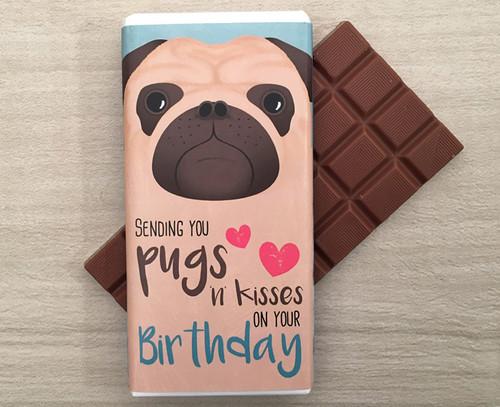 Birthday Pugs 'n' Kisses Milk Chocolate Bar 100g