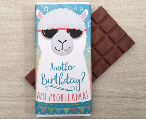 Birthday Milk Chocolate Bar 100g - Llama design