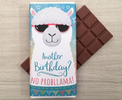 Birthday Milk Chocolate Bar 100g - Llama design