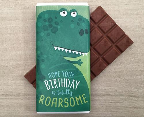 Birthday Milk Chocolate Bar 100g - Dinosaur design
