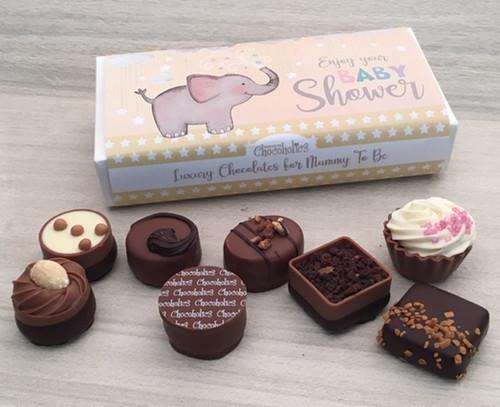 Luxury Box of 8 Belgian Chocolates - Baby Shower Yellow 7139