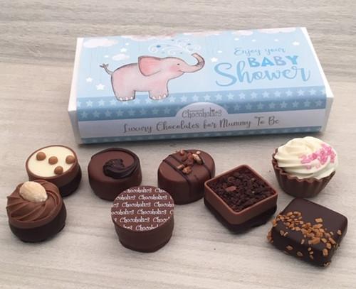 Luxury Box of 8 Belgian Chocolates - Baby Shower Blue