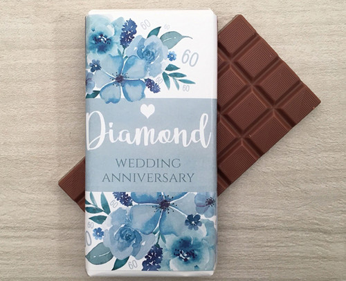 Diamond Wedding Anniversary 100g Milk Chocolate Bar