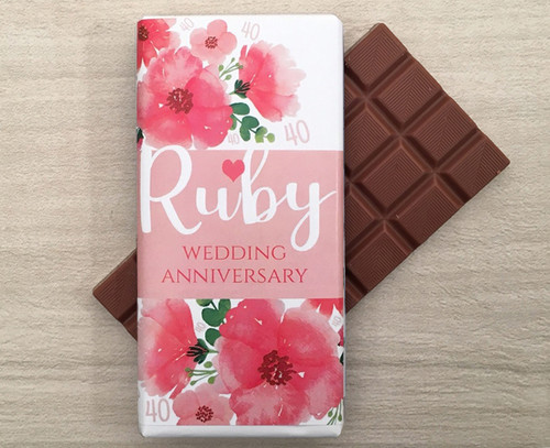 Ruby Wedding Anniversary 100g Milk Chocolate Bar
