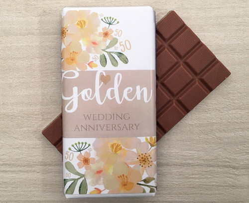 Golden Wedding Anniversary 100g Milk Chocolate Bar