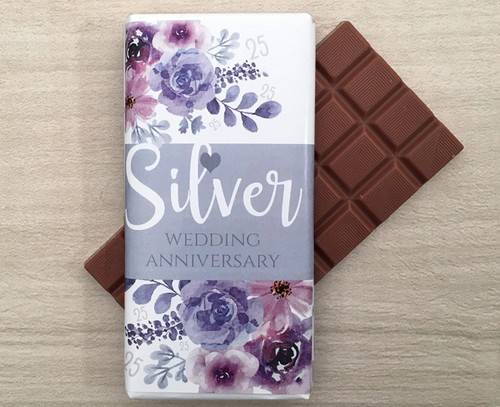Silver Wedding Anniversary 100g Milk Chocolate Bar
