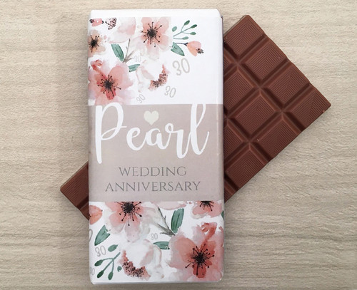 Pearl Wedding Anniversary 100g Milk Chocolate Bar