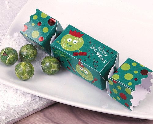 5041 Mini Sprout Christmas Cracker with four milk chocolate balls