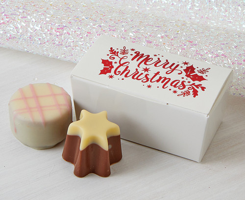 5577 Red Printed Merry Christmas gift Box with 2 luxury chocolates