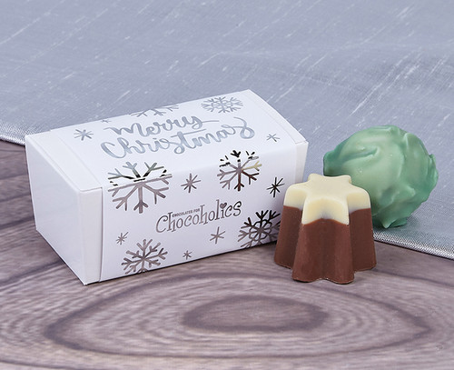 White Merry Christmas 2 Choc Gift Box with Silver Wrapper