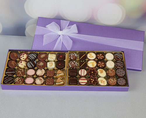 Lilac Box of Chocolates with 48 delicious milk, white and plain Belgian chocolates