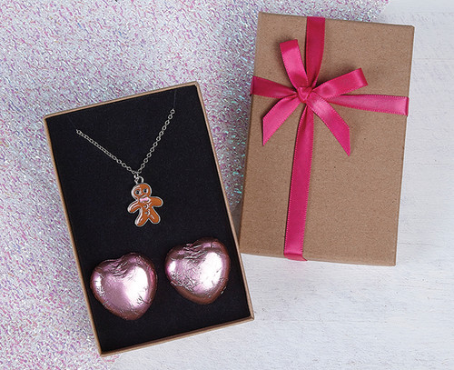 Gingerbread Necklace with Milk Chocolate Hearts