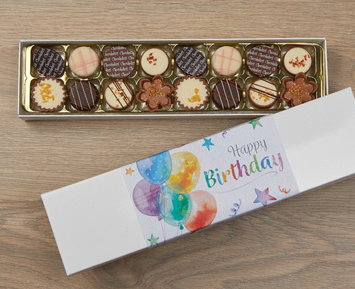 7386 Luxury Box of 16 Belgian Chocolates - Birthday Balloons