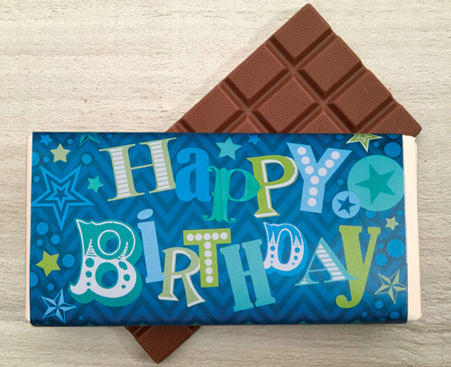 5505 Blue Happy Birthday Milk Chocolate Bar 100g