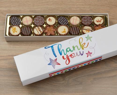 5064 Luxury Box of 16 Belgian Chocolates - Thank You Stars