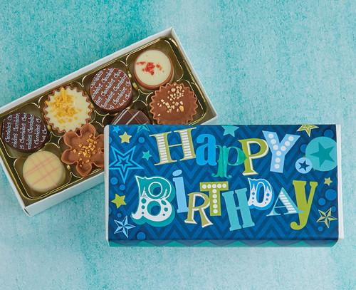 8040 Eight Luxury Chocolates for a Birthday - Blue Happy Birthday design