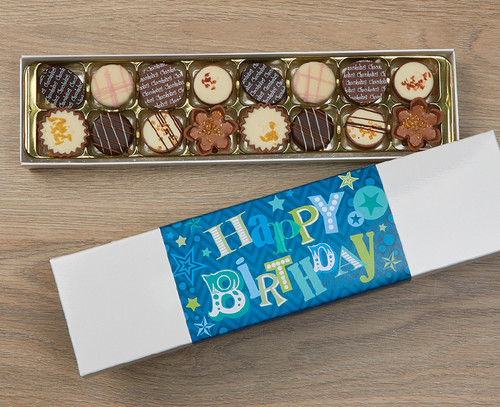 7939 Luxury Box of 16 Belgian Chocolates - Blue Happy Birthday