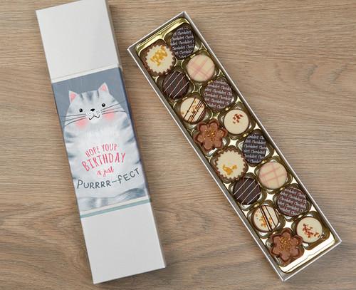 Luxury Box of 16 Belgian Chocolates with Cat Design Wrapper 7726