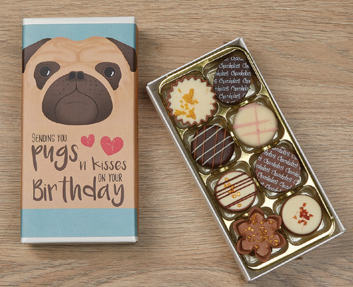 5063 Eight Luxury Chocolates Birthday Pug Design
