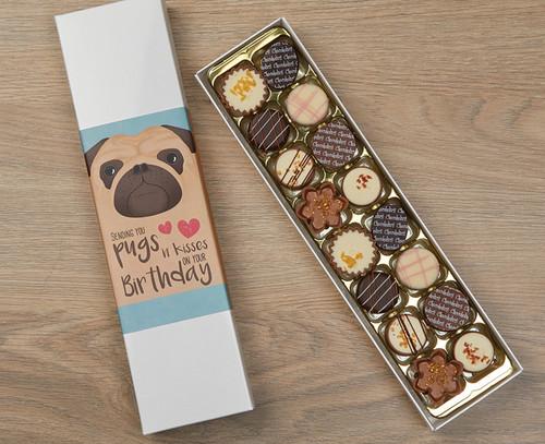 7674 Luxury Box of 16 Belgian Chocolates Pug Design