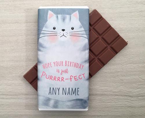 Personalised Cat Design Milk Chocolate Bar