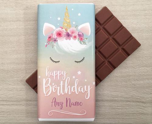 Personalised Birthday Unicorn Design Milk Chocolate Bar