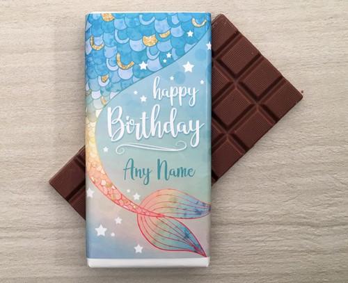 Personalised Birthday Mermaid Design Milk Chocolate Bar