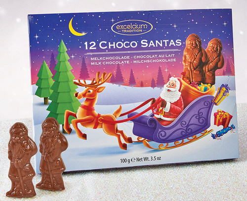 7938 12 Choco Santas in Milk Chocolate Gift Pack