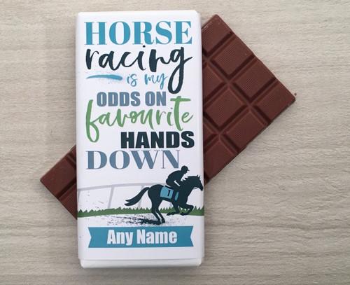 Personalised Horse Racing Design Milk Chocolate Bar
