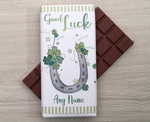 Personalised Good Luck Horseshoe Design Milk Chocolate Bar