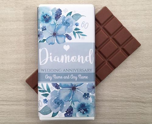 Personalised Diamond Wedding Anniversary Design Milk Chocolate Bar