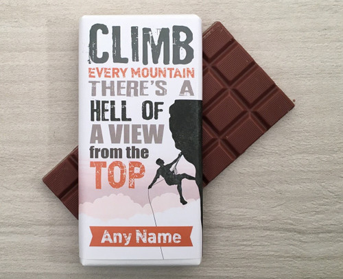 Personalised Climbing Design Milk Chocolate Bar