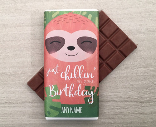 Personalised Birthday Sloth Design Milk Chocolate Bar