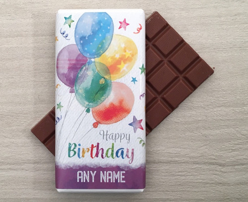 Personalised Birthday Balloons Design Milk Chocolate Bar