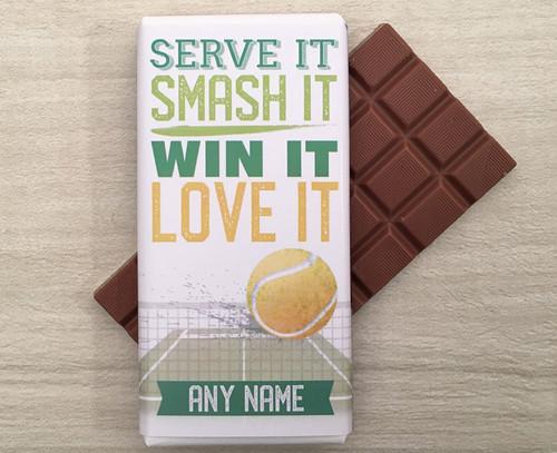 Personalised Tennis Design Milk Chocolate Bar