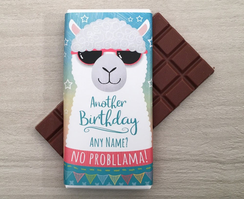 Personalised Birthday Llama Design Milk Chocolate Bar