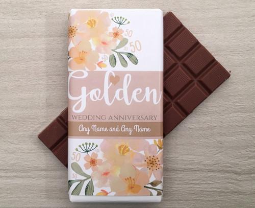 Personalised Golden Wedding Anniversary Design Milk Chocolate Bar
