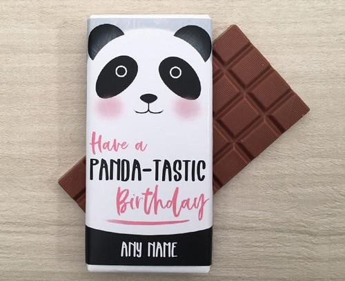 Personalised Birthday Panda Design Milk Chocolate Bar