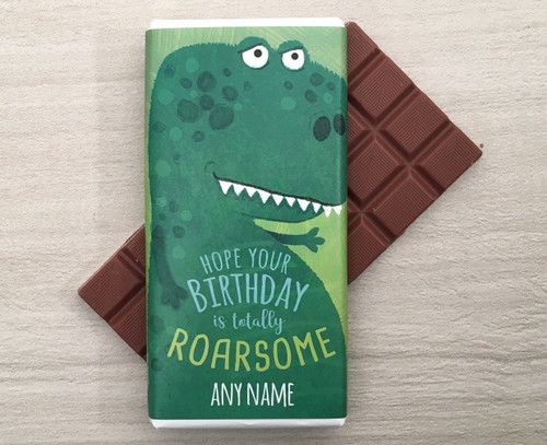 Personalised Birthday Dinosaur Design Milk Chocolate Bar