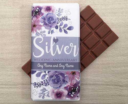 Personalised Silver Wedding Anniversary Design Milk Chocolate Bar
