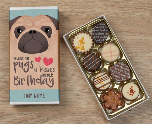 Personalised 8 Luxury Chocolates in a Box - Pug Happy Birthday