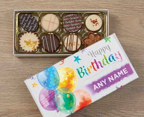 Personalised 8 Luxury Chocolates in a Box - Birthday Balloons