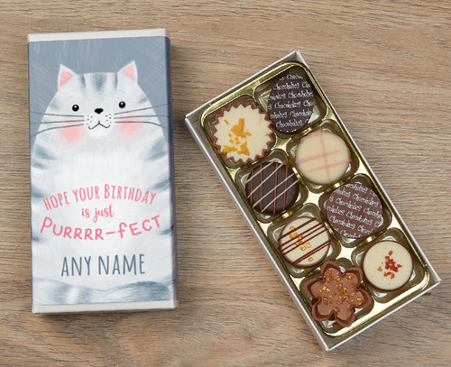 Personalised 8 Luxury Chocolates in a Box - Cat Happy Birthday