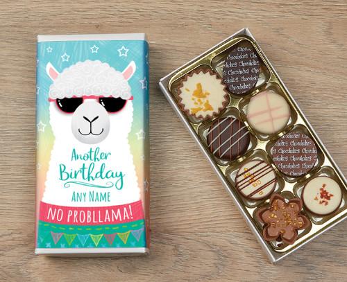 Personalised 8 Luxury Chocolates in a Box - Llama Happy Birthday