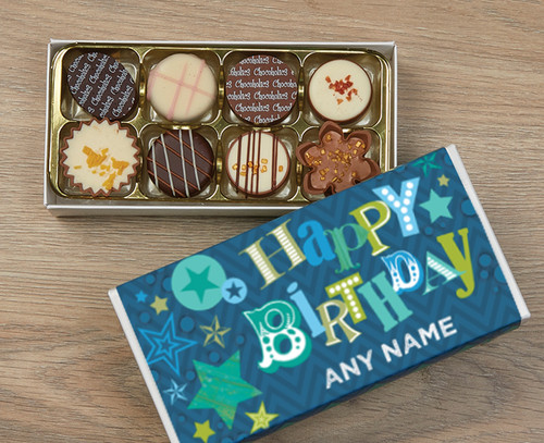 Personalised 8 Luxury Chocolates in a Box - Blue Happy Birthday