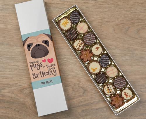 Personalised 16 Luxury Chocolates in a Box - Pug Happy Birthday