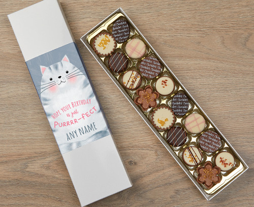 Personalised 16 Luxury Chocolates in a Box - Cat Happy Birthday